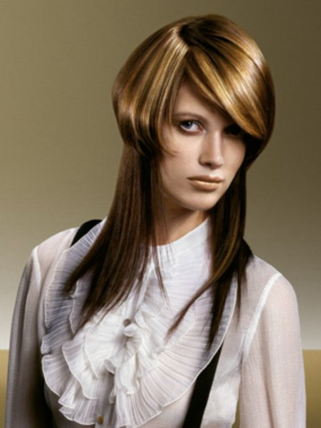 Twee haarsnitten in n: lang bruin haar met daarboven een ...